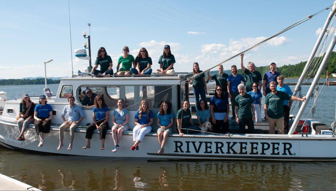 Former Fellow Jen on a Riverkeeper boat on the Hudson