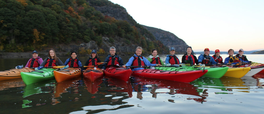 A Riverkeeper Fellows with her team in Kayaks on the Hudson River