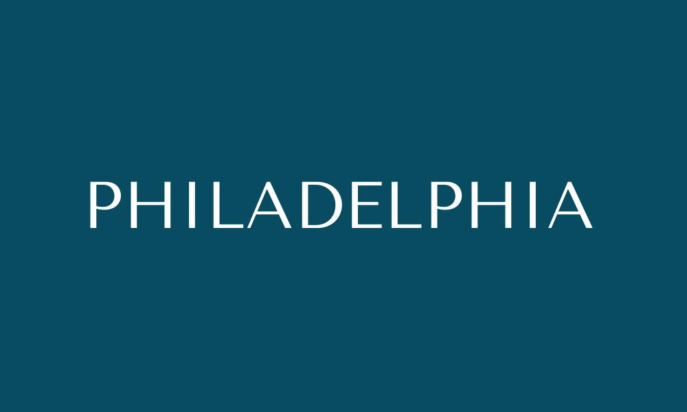 Teal box that says Philadelphia