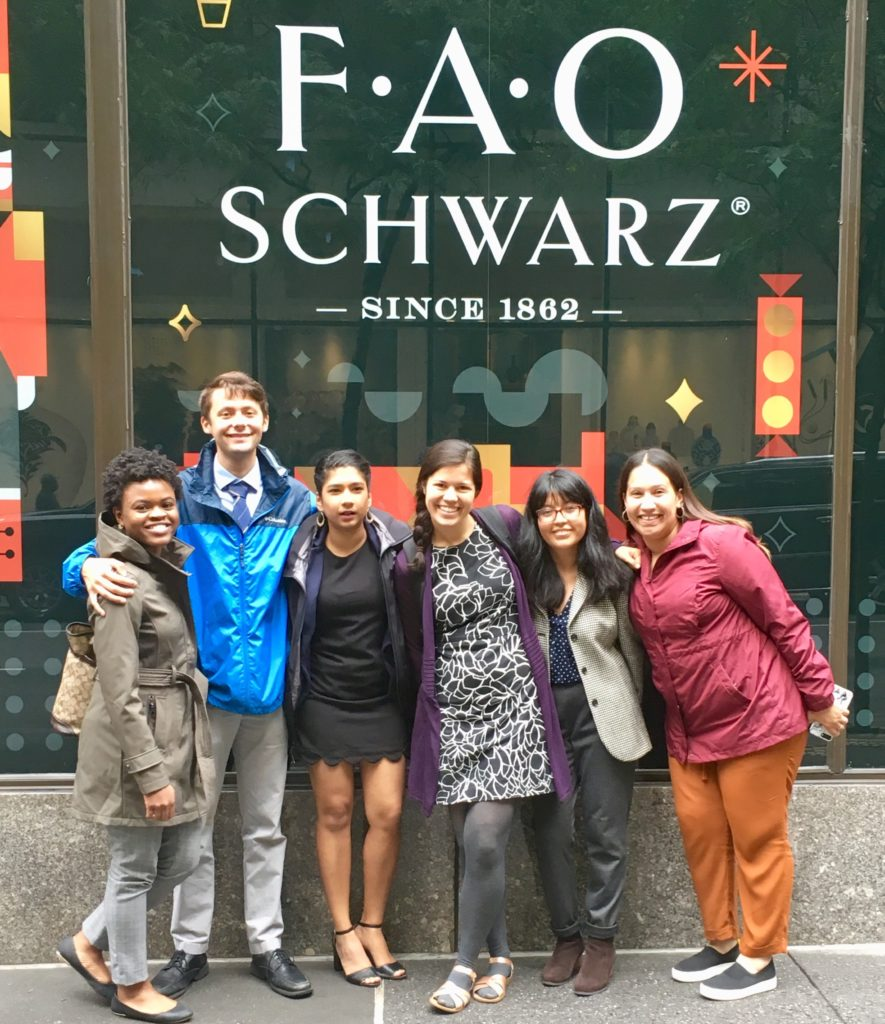 A group of Fellows posing in front of an FAO Schwarz storefront