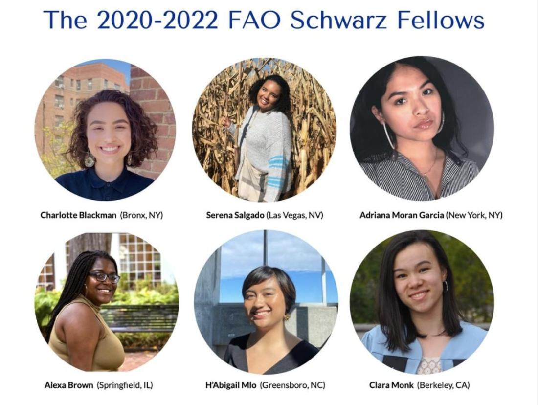 A graphic showing The 2020-2022 FAO Schwarz Fellows.