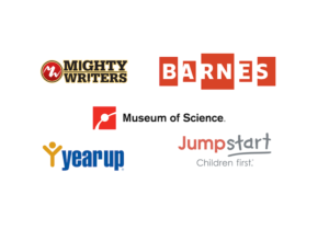 Logos of the 5 new Fellowship host organizations: Mighty Writers, The Barnes Foundation, the Boston Museum of Science, Yearup, and Jumpstart.