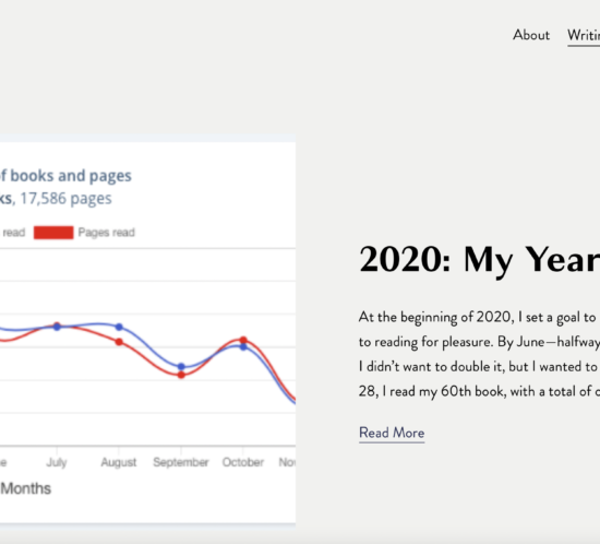A screenshot of a chart showing the number of books and pages read over one year. Text to the right of the chart says- 2020: My Year in Books. At the beginning of 2020, I set a goal to read 35 books in an effort to get back to reading for pleasure. By June- halfway through the year- I reached my goal. I didn't want to double it, but I wanted to give myself a challenge. December 28, I read my 60th book, with a total of over 17,500 pages read.