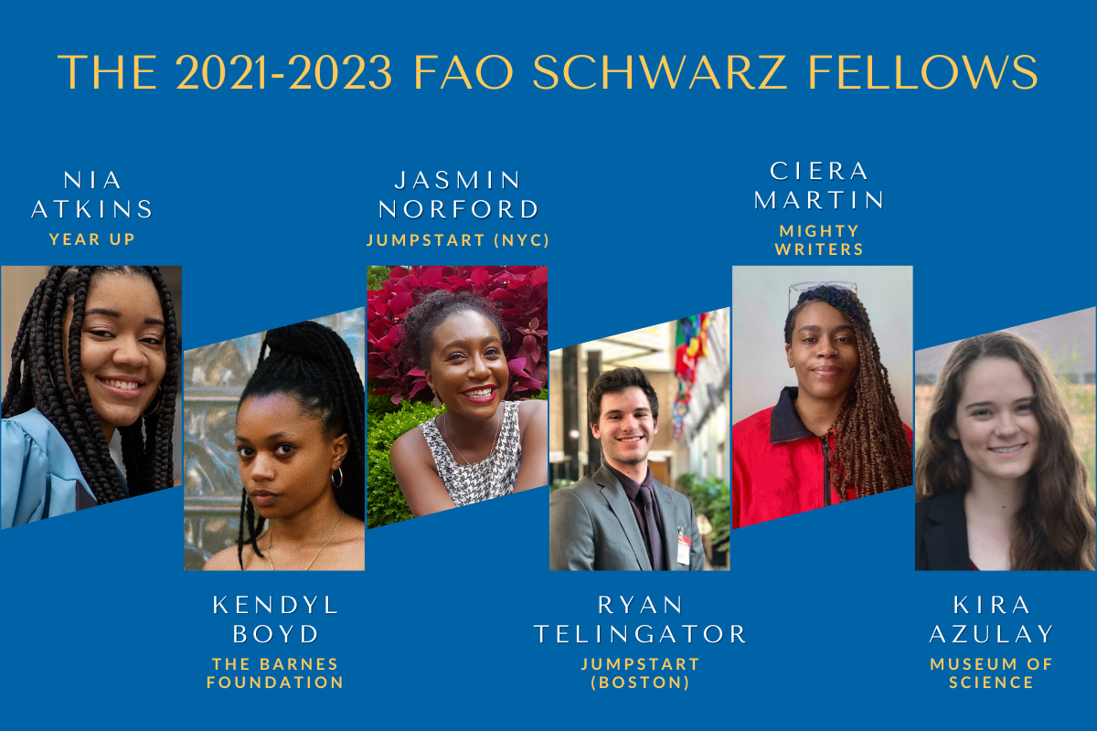 A blue graphic with yellow text announcing: The 2021-2023 FAO Schwarz Fellows. Across the middle of the graphic are pictures of fellows with their names and host organizations. From left to right: Nia Atkins at Year Up, Kendyl Boyd at the Barnes Foundation, Jasmin Norford at Jumpstart NYC, Ryan Telingator at Jumpstart Boston, Ciera Martin at Mighty Writers, and Kira Azulay at the Museum of Science