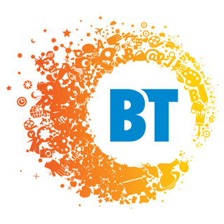 The letters BT in blue on a white background and orange outline