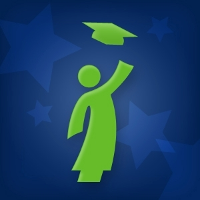 A green cartoon graduate throwing its cap on a blue background with light blue stars